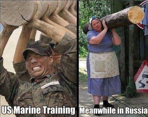 View joke - US marine training. Old Russian lady is training hard too.