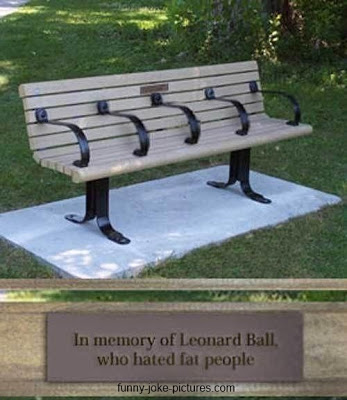 View joke - This bench has been assembled in memory of Leonard Ball, who hated fat people.