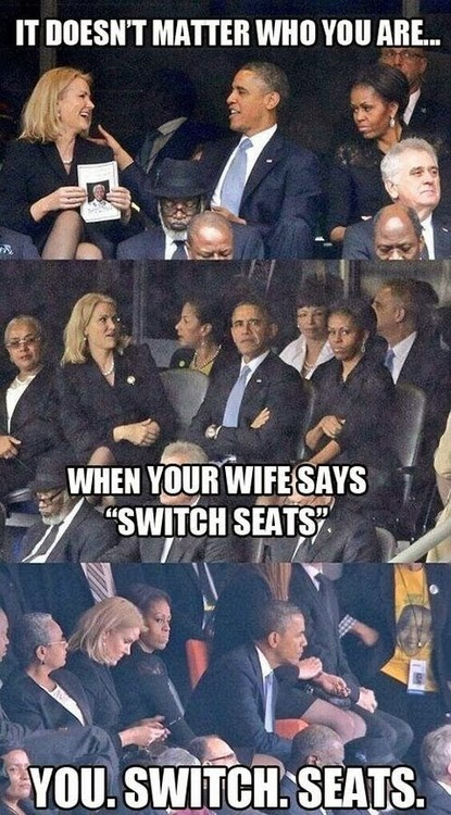 View joke - It does not matter who you are. If your wife says switch seats, you switch seats