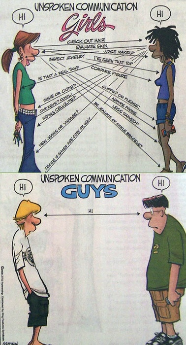 View joke - Unspoken communication. Girls: Check out hair. Evaluate skin. Inspect jewelry. Guys: Hi