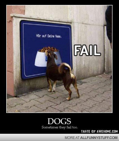 View joke - Dogs, sometimes they fail to. At least he tried.