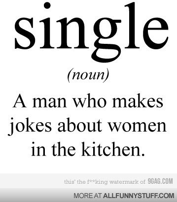View joke - Single. A man who makes jokes about women in the kitchen