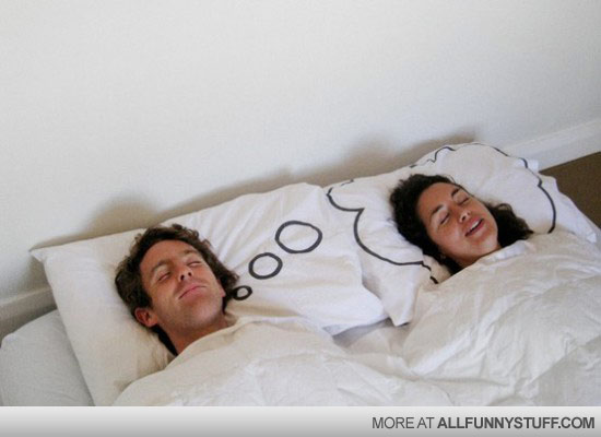 View joke - Husband dreaming pillow. This guy deserves a medal.