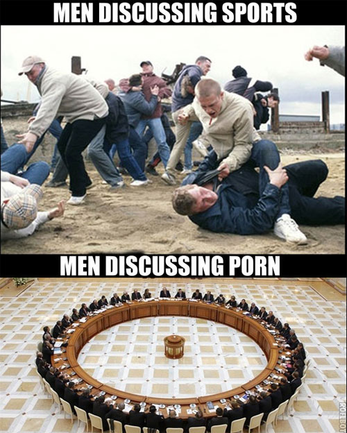 View joke - Men discussing issues