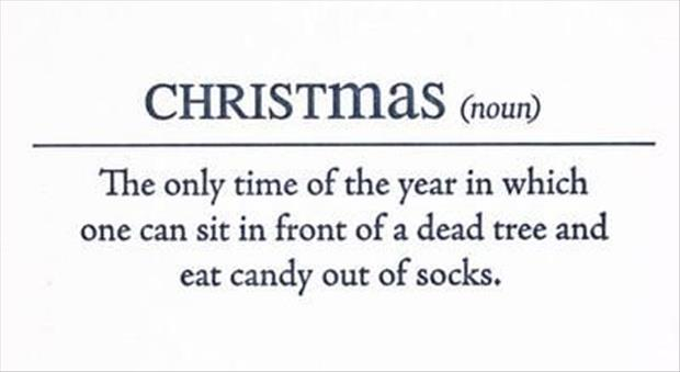 View joke - Christmas. The only time of the year in which one can sit in front of a dead tree and eat candy out of socks.