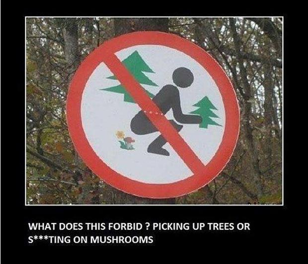 View joke - This sign is confusing. What does it forbid ? Picking up trees or pooping on mushrooms.