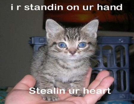 View joke - I am standing on your hand. Stealing your heart.