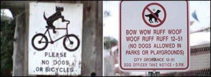 View joke - Please no dogs or bicycles